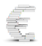 Euro sign , stacked from blank books. Euro sign , stacked from many blank title books in column royalty free illustration