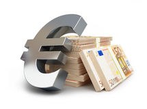 Euro sign stacks of dollars Stock Images