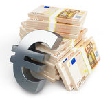 Euro sign stacks of dollars. On a white background Royalty Free Stock Image