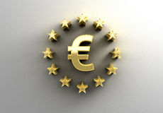 Euro sign with stars - gold 3D quality render on the wall backgr Stock Photo
