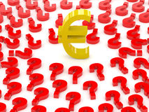 Euro sign surrounded by question marks. Stock Photos