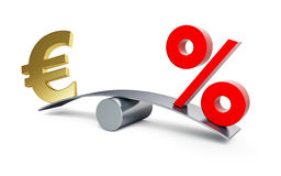 Euro sign on a swing with a percent sign Royalty Free Stock Photography