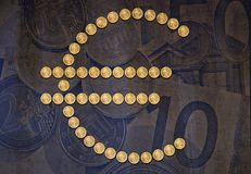 Euro sign symbol coins Royalty Free Stock Image