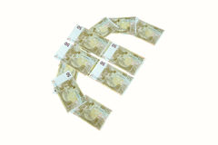 Euro sign symbol made of banknotes greenback paper money. Isolated on white Royalty Free Stock Image