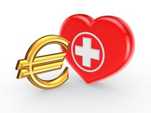 Euro sign and symbol of medicine. Royalty Free Stock Photo