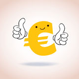 Euro sign thumbs up mascot cartoon character. Euro sign thumbs up cartoon character Stock Photos