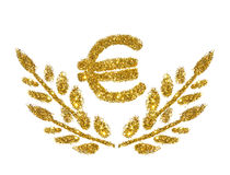 Euro sign and twigs with leaves of golden glitter sparkle on white background. Concept of prosperity Royalty Free Stock Image