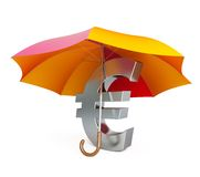 Euro sign under umbrella Stock Images