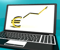 Euro Sign And Up Arrow On Computer Royalty Free Stock Image