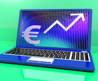 Euro Sign And Up Arrow On Laptop Stock Images