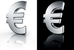 Euro sign on white and black reflective floor. 3d rendering of the euro sign in brushed metal on a white and black reflective floor Royalty Free Stock Photography