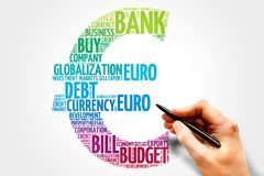 Euro sign. Word cloud, business concept Royalty Free Stock Photo