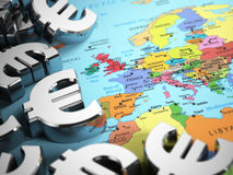 Euro sign on the world map background with DOF effect. 3d Royalty Free Stock Images