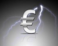 Euro signe argenté Image libre de droits