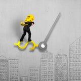 Euro signe de transport d'or équilibrant sur la main d'horloge d'argent sur des griffonnages Image stock