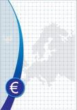 Euro signe et carte d'affiche Illustration Stock