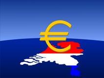 Euro signe hollandais avec la carte Images stock