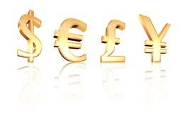 Euro signes de Yens de livre du dollar 3d sur le blanc Image stock