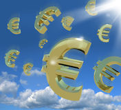 Euro Signs Falling From The Sky. As A Sign Of Windfall Royalty Free Stock Photo