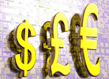 Euro simboli del dollaro della libbra nel grafico dell'oro Fotografia Stock