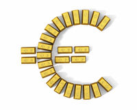 Euro simbolo dalle barre di oro, parte superiore illustrazione di stock