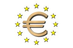 Euro simbolo dorato Immagini Stock