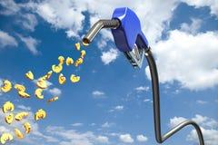 Euro- sinais que gotejam fora de um bocal de combustível azul Fotos de Stock Royalty Free