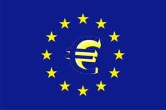 euro- sinal 3D e bandeira Imagem de Stock