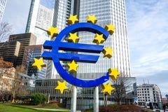Euro- sinal Banco Central Europeu (BCE) Imagem de Stock