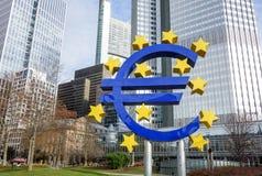 Euro- sinal O Banco Central Europeu (BCE) é o banco central Imagens de Stock