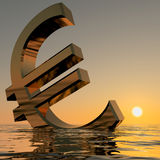 Euro Sinking And Sunset Showing Depression Stock Image