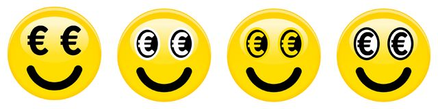 Euro smiley emoticon. Yellow 3d emoji with black and white euro symbols in place of eyes. Euro smiley emoticon. Yellow 3d emoji with black and white euro Stock Image