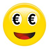 Euro smiley emoticon. Yellow laughing 3d emoji with black eur symbols in place of eyes and red opened mouth. Euro smiley emoticon. Yellow laughing 3d emoji with royalty free illustration