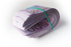 500 euro sob a barreira de borracha Fotografia de Stock Royalty Free