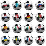 Euro Soccer 2012 Championship Teams. Soccer Balls with the flag of all participating national teams on them - clipping path included for each group and Stock Image