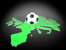 Euro soccer. Soccer ball on the map of euro Royalty Free Stock Photography