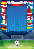 Euro Soccer Background. With European Flags Royalty Free Stock Image