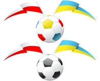 Euro Soccer Ball. Soccer Ball with Poland and Ukraine flags Royalty Free Stock Photography