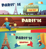Euro 2016 soccer banner set. Euro 2016 football championship horizontal banner flat set  vector illustration Royalty Free Stock Photos