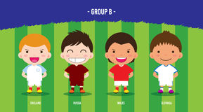 EURO Soccer group B. Character design with soccer players championship 2016 euro, cartoon, group B Stock Images