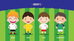 EURO Soccer group c. Character design with soccer players championship 2016 euro, cartoon, group c Stock Illustration
