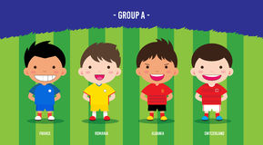 EURO Soccer group A. Character design with soccer players championship 2016 euro, cartoon, group A Royalty Free Stock Images