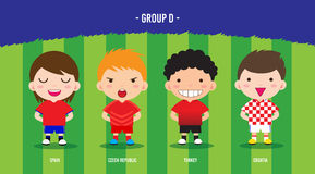 EURO Soccer group D. Character design with soccer players championship 2016 euro, cartoon, group D Royalty Free Stock Photo