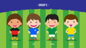 EURO Soccer group E. Character design with soccer players championship 2016 euro, cartoon, group E Royalty Free Stock Image