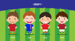 EURO Soccer group F. Character design with soccer players championship 2016 euro, cartoon, group F Royalty Free Illustration