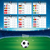 Euro Soccer Table with Flags. Vector Design Royalty Free Stock Photos