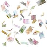 Euro soldi di carta volanti Fotografia Stock