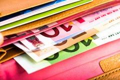 Euro soldi in portafoglio Immagine Stock Libera da Diritti