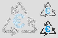 Euro som återanvänder vektorn Mesh Carcass Model och den mosaiska symbolen för triangel vektor illustrationer