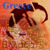 euro som bryter greece Arkivfoton